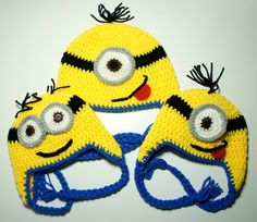 Minion Hat, Despicable Me, Crochet Minion Hat, Crochet Baby Hat, Baby Hat, Animal Hat, Yellow, photo prop, Inspired by Despicable Me. $19.99, via Etsy.