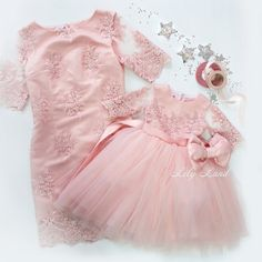 Pink lace Mother and daughter holiday dress Matching Dresses Mother Daughter Matching Outfits Dress tulle mommy me outfits Christmas Mother Daughter Matching Outfits, Mommy And Me Outfits, Baby Girl Dresses, Baby Dress, Flower Girl Dresses, Event Dresses, Holiday Dresses, Dress Brokat, Tulle Dress