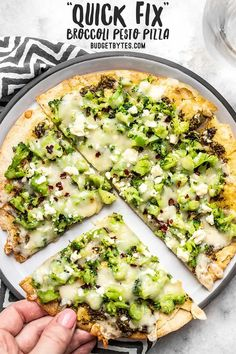 """This """"Quick Fix"""" Broccoli Pesto Pizza is the fastest and easiest route to getting your pizza fix, with an extra thin and crispy tortilla crust. Pesto Pizza, Broccoli Pizza, Fresh Broccoli, Pizza Recipes, Vegetarian Recipes, Dinner Recipes, Cooking Recipes, Healthy Recipes, Uk Recipes"""