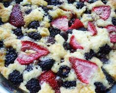 Blackberry Strawberry Cobbler. What a great summer dish.  I want to make this with strawberries picked straight from the field.