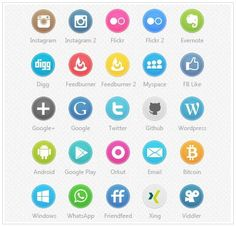 Circle Social Icon Set ♥ Loved and pinned by www.mywebpeople.net