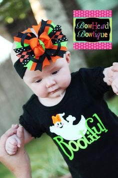 Bootiful - Halloween Ghost Applique Black Ruffle Shirt or Onesie and Matching Hair Bow Set for Girls Halloween Bows, Halloween Ghosts, Halloween Outfits, Holidays Halloween, Applique Monogram, Ruffle Shirt, Holidays With Kids, Big Bows, Applique Patterns