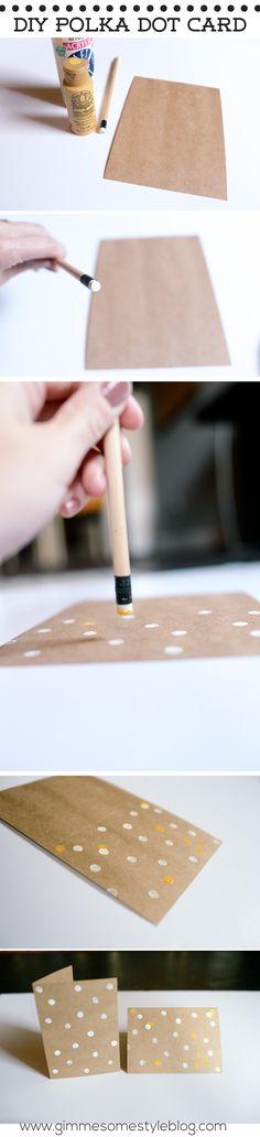DIY Polka Dot Greeting Card | www.gimmesomestyleblog.com #diy #card #gift