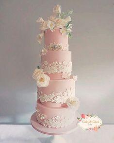 Pink & lace romantic wedding cake Cobi & Coco Cakes