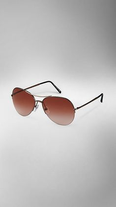 d81c0b9eb3 Burberry Half-Frame Aviator Sunglasses Types Of Sunglasses