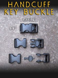 A small plastic buckle with a handcuff key built in.