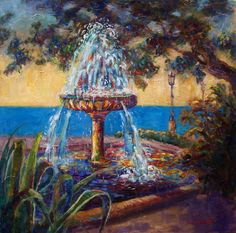 Spanish Fountain Original Oil Painting by ingridspaintings Large Painting, Painting Frames, Ponds Backyard, Still Life, Landscape Paintings, Fountain, Spanish, Original Paintings, Old Things