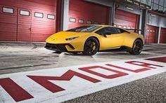 Lataa kuva Lamborghini Huracan, 2017, keltainen Huracan, Superauto, Italian urheiluautoja, Lamborghini