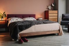 The Iona is a modern low bed with buttoned headboard. A low, solid wood bed frame with a contemporary, upholstered headboard with 3 buttons. Wood Bedroom, Bedroom Furniture, Bedroom Inspo, Dream Bedroom, Japanese Style Bed, Low Platform Bed, Solid Wood Bed Frame, Winter Bedroom, Headboard Cover