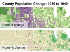 Compare these two ways of seeing U.S. population growth by county - one relies on color, the other with color and circle sizes.