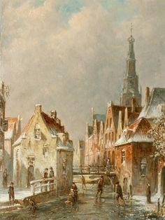 Petrus Gerardus Vertin - Hollands stadsgezicht in de winter (1891)