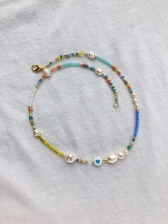 Real Pearl Necklace, Seed Bead Necklace, Freshwater Pearl Necklaces, Seed Bead Jewelry, Beaded Necklaces, Seed Beads, Diy Jewelry, Beaded Jewelry, Handmade Jewelry