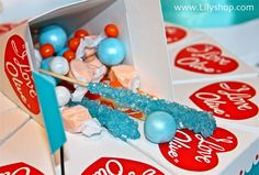 I love lucy inspired baby shower. Paper cakes for the candy bar! #babyshower #candy #lucy