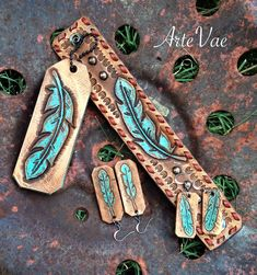 Bracelet, earrings and keychain hand tooled leather by Tamra at ArteVae