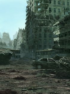 I'm told that there was once something here, children played in these streets, but now all there is is empty shells. Post Apocalypse, Apocalypse World, 3d Fantasy, Fantasy World, Science Fiction, Cyberpunk, Apocalypse Landscape, Post Apocalyptic City, Survival
