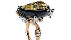 A black onyx ring with a 6.10-carat fancy yellow diamond from Cindy Chao's Black Label Masterpieces series.