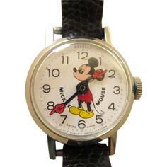 @rubylanecom  Vintage Bradley Mickey Mouse Swiss Wind Up Watch 1970