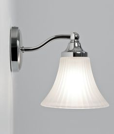 Modern Classic Bathroom Wall Light in Chrome with Ribbed Glass ...