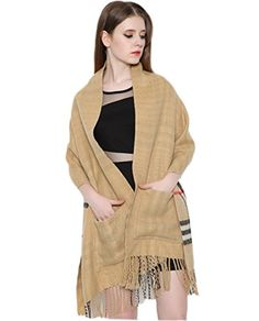 Ikerenwedding Women's Plaid Fringed Cashmere Scarf Shawl Wrap With Pocket double-sided thick autumn and winter cloak Ikerenwedding http://www.amazon.com/dp/B0178YGDWO/ref=cm_sw_r_pi_dp_vEapwb0FADG2G