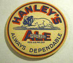 Hanley's Peerless Ale : Vintage beer advertising coaster
