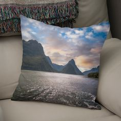 Discover «Epic Sunset at Milford Sound», Numbered Edition Throw Pillow by Daniela Constantinescu - From $27 - Curioos