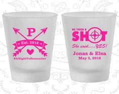 Crossed Arrows Wedding, Frosted Glasses, He Took a Shot, She Said Yes, Frosted Shot Glass (470)