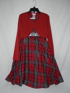 Girls sz 14 Bonnie Jean plaid Christmas Holiday dress red sweater shrug metallic #BonnieJean #DressyHoliday