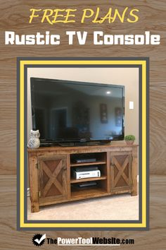 Need plans for a rustic TV console with x-doors and simple construction? Come get these TV stand plans for free! Woodworking For Kids, Easy Woodworking Projects, Woodworking Shop, Woodworking Plans, Unique Woodworking, Wood Projects That Sell, Easy Wood Projects, Project Ideas, Rustic Tv Console