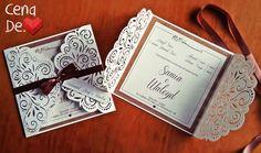 Convite para noivado - com papel trabalhado em renda e kraft de fundo. Moderno e Delicado!