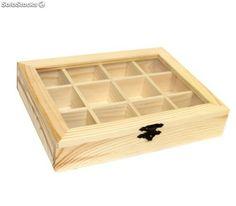 EM Home-Caja de madera con 12 compartimentos y tapa con cristal