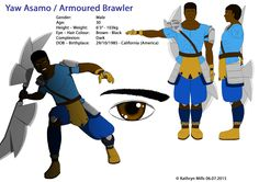 Yaw Asamo is the fifth character to appear in the comic series, closely following his girlfriend Blade Dash. Yaw's character is based on a Meso American Gladiator, his design makes him one of the strongest characters in the game. Brawler's signature weapon is a large duel headed multi-blade slicing weapon, he can use it as a duel headed axe, or as two separate axes. Normally, Brawler is very quiet and concentrated, but he can become emotional easily particularly when upset.