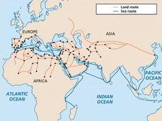 Capitalist Traditions in Early Arab-Islamic Civilization | Muslim Heritage Figure 1: Land and sea trade routes in the Islamic world.
