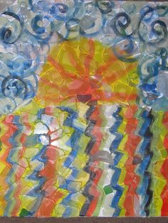 sunrise- acrylic with pieces of glass (found on the beach) glued on top