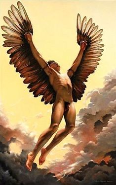 Maurice Heerdink (Dutch painter, b. Fall of Icarus Male Angels, Angels And Demons, Daedalus And Icarus, Art Du Monde, Angel Man, Male Figure, Gay Art, Greek Gods, Gods And Goddesses