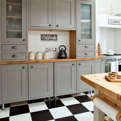 Grey Shaker-style kitchen with tiled flooring | Decorating