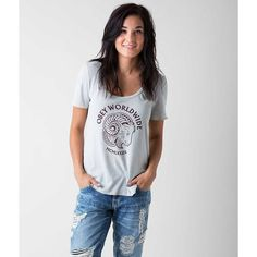 OBEY Bock Posse T-Shirt ($28) ❤ liked on Polyvore featuring tops, t-shirts, grey, graphic tees, scoopneck top, grey tee, graphic design t shirts and graphic print t shirts
