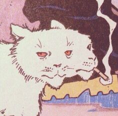 Two faced white cat cart illustration smoking Arte Peculiar, Arte Indie, Arte Obscura, Arte Horror, Hippie Art, Psychedelic Art, Aesthetic Art, Alien Aesthetic, Aesthetic People