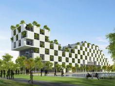 Universidade verde no Vietnã tem fachada que parece um tabuleiro de damas