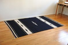 Vintage Southwestern Navy Blue & White Area Rug by TheOldWell