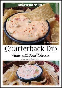 Quarterback Dip is made with real cheeses and with fresh ingredients and Rotel!  Queso, cheese dip, appetizer, game day snacks, snacks, dips, football, superbowl, superbowl snacks http://www.myturnforus.com/2014/01/quarterback-dip.html