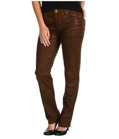 NWT NYDJ Not Your Daughters Jeans Coated Skinny Brown Sz 2 $150 #NotYourDaughtersJeans #SlimSkinny