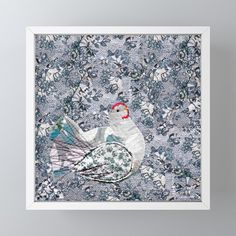 Happy hen in blue Framed Mini Art Print by bozenawojtaszek Hen House, Rustic Feel, Great Friends, Keep It Cleaner, Decor Styles, Great Gifts, Gallery Wall, Art Prints, Mini