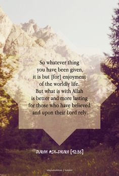 So whatever thing you have been given, it is but [for] enjoyment of the worldly life. But what is with Allah is better and more lasting for those who have believed and upon their Lord rely.
