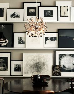 Photography, artwork, floating shelving