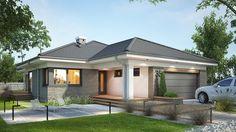 Projekt domu Miriam III 118,10 m² - koszt budowy - EXTRADOM Simple Bungalow House Designs, Modern Bungalow House, Bungalow Exterior, Bungalow House Plans, House Plans Mansion, Dream House Plans, House Layout Plans, House Layouts, One Storey House