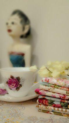 #vintage #flower #teacup #fabric #cotton #shabbychic
