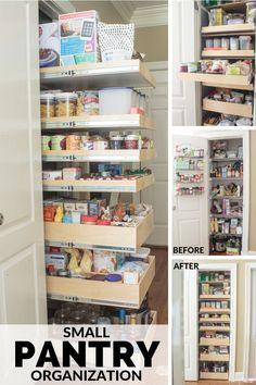 Small Pantry Cabinet, Small Pantry Closet, Pantry Closet Organization, Tiny Pantry, Small Kitchen Pantry, Pantry Room, Pantry Shelving, Kitchen Pantry Design, Kitchen Pantry Cabinets