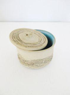 Vintage Pottery Lidded Jar VIntage Lidded Container Stoneware Vintage Lidded Vessel Handmade Small Canister Wheel Thrown Pottery