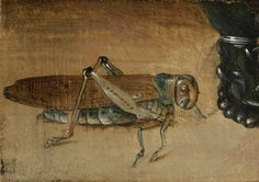 CIRCLE OF CLARA PEETERS, A GRASSHOPPER BESIDE A ROEMER:  A FRAGMENT, oil on panel, 6.5 x 9.3 cm.