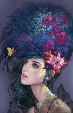 Fantasy Illustration | ... 2d illustration butterfly girl fantasy woman flowers fantasy women